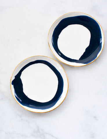 Pre-Order: Dessert Plates in Watercolor Navy Swirl with Gold Rim (Set of Two)