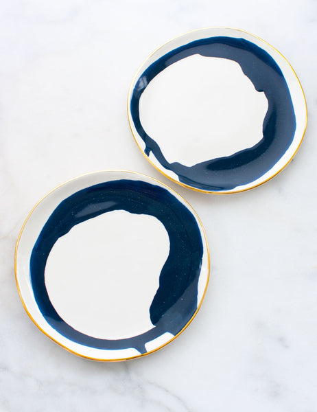 Limited Edition: Salad Plates in Watercolor Navy Swirl and Gold Rim (Set of Two)