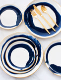 Limited Edition: Dinner Plates in Watercolor Navy Swirl and Gold Rim (Set of Four)