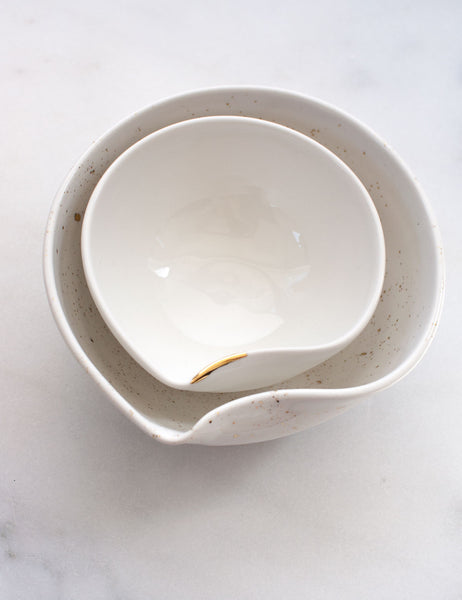 Artist Original: Medium Pour Bowl Nesting Set in White with Gold Flourish + Splatters (Set of Two)