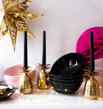 Dinner Bowl in Mascara Black with Gold Splatters