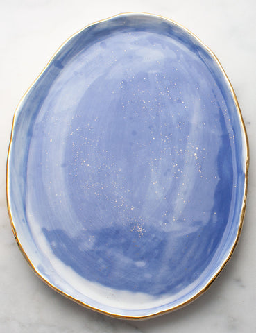 Artist Original: Oblong Serving Tray in Watercolor Blues with Gold Rim and Gold Splatters