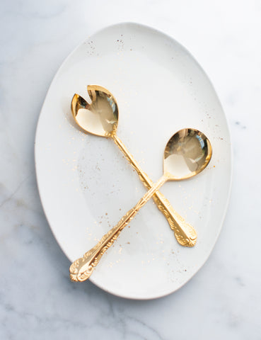 Oval Platter in White with Gold Splatters