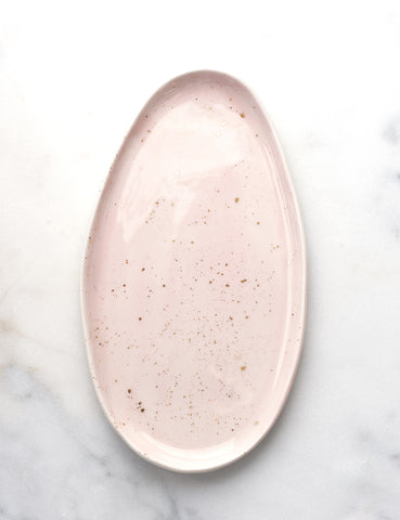 Oval Side Platter in Pale Rose with Gold Splatters