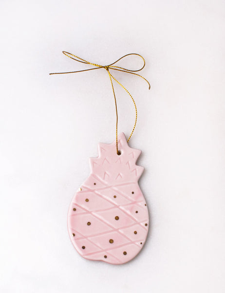 Pineapple Ornament in Rose and Gold Polka Dots