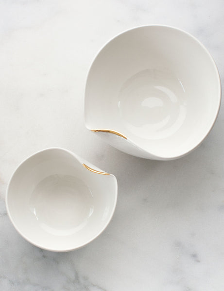 Artist Original: Large Pour Bowl Nesting Set in White with Gold Flourish (set of two) #6