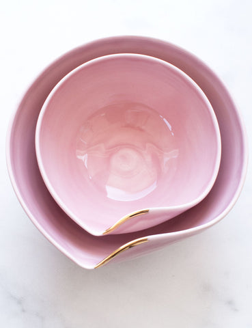 Artist Original: Large Pour Bowl Nesting Set in Rose with Gold Flourish (Set of Two)