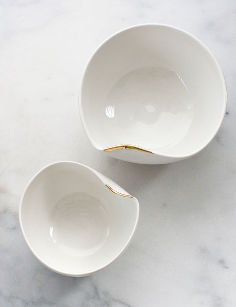 Artist Original: Large Pour Bowl Nesting Set in White with Gold Flourish (set of two) #5
