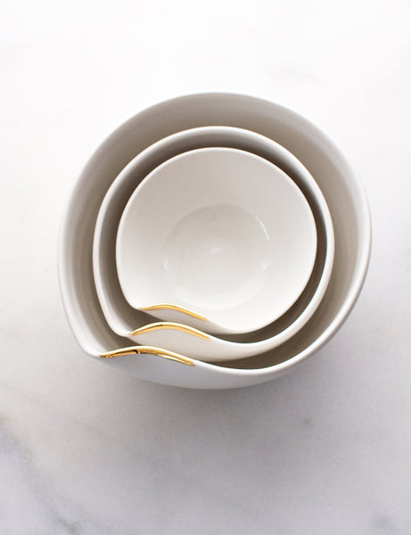 Artist Original: Large Pour Bowl Nesting Trio in White with Gold Flourish Vol. 2