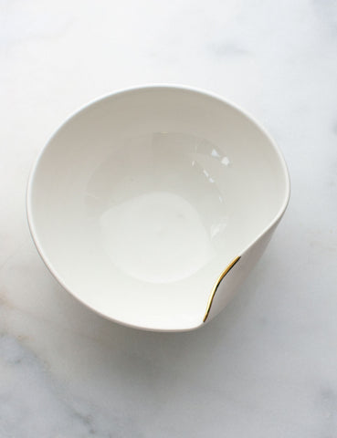 Artist Original: Large Pour Bowl in White with Gold Flourish #9