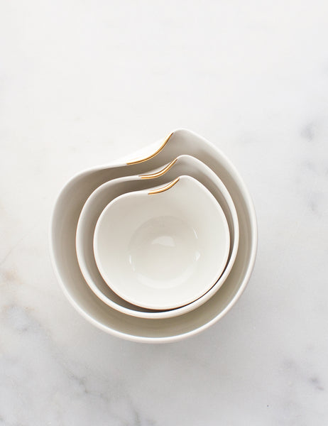 Artist Original: Large Pour Bowl Nesting Trio in White with Gold Flourish Vol. 1