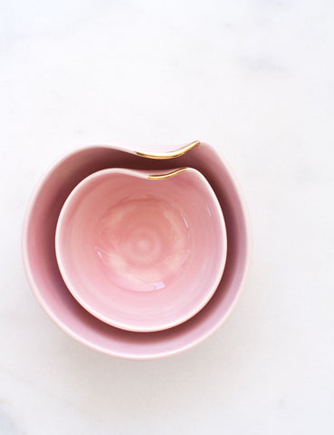 Artist Original: Pour Bowl Nesting Set in Rose with Gold Flourish (Set of Two)
