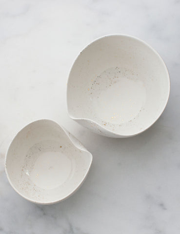 Artist Original: Large Pour Bowl Nesting Set in White with Gold Splatters (set of two) #7