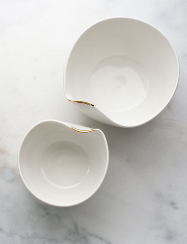 Artist Original: Large Pour Bowl Nesting Set in White with Gold Flourish (set of two) #8