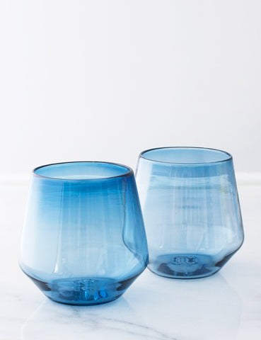 Angled Wine Glass in Regatta Blue (Pair): PRE-ORDER