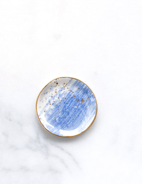 Limited Edition: Ring Dish in Chambray Wash with Gold Splatters