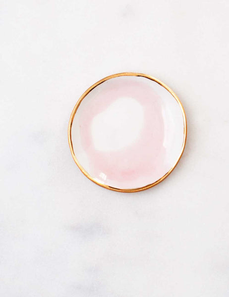 Ring Dish in Rose Swirl with Gold Rim