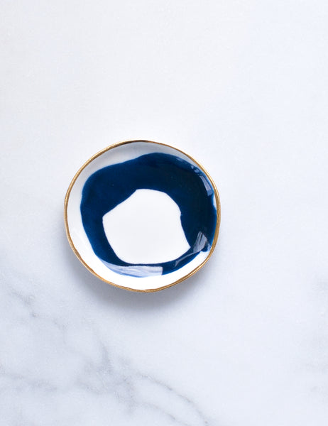 Ring Dish in Navy Swirl with Gold Rim