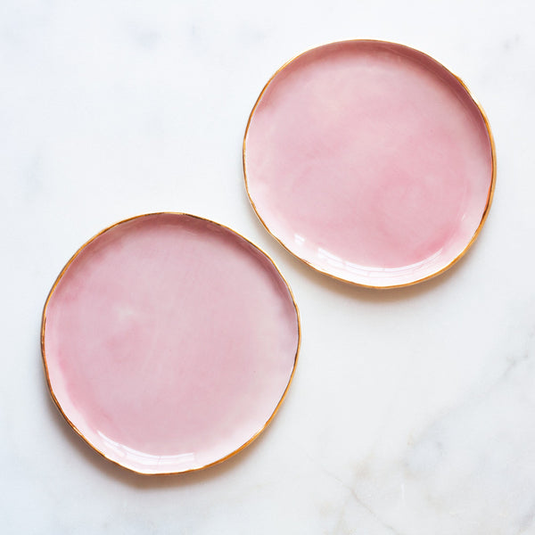 Seconds Dessert Plate in Rose with Gold Rim (set of two)