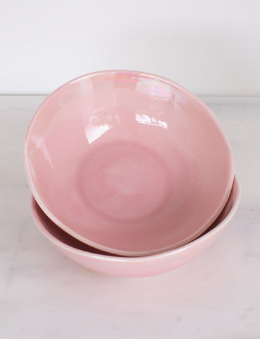 Bijou Bowls in Rose with Pearl Brushstroke Rim (Set of Two)