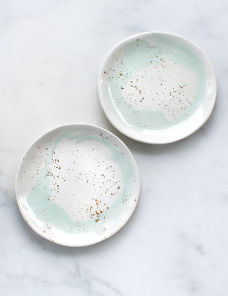 Sample Dessert Plates in Mint Swirl with Gold Splatters (Set of Two)