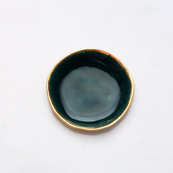 Seconds Ring Dish in Malachite with Gold Rim