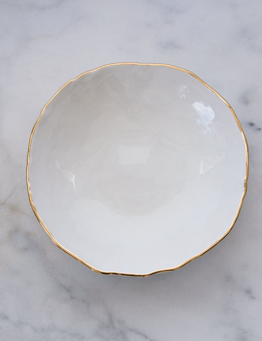 Hand-Built Serving Bowl in Dimpled White with Gold Rim