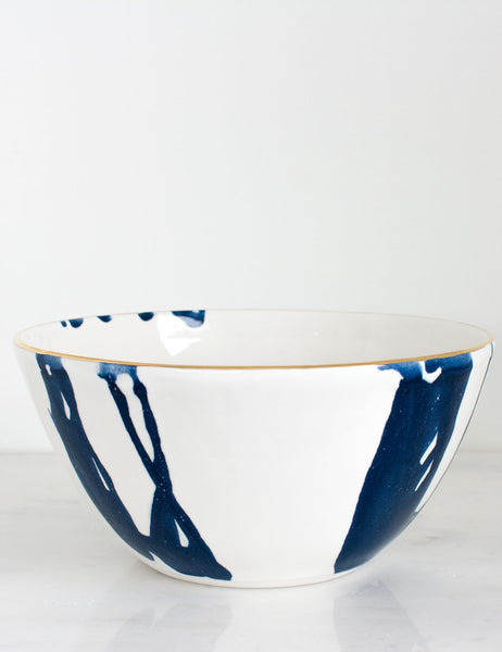 Porcelain Serving Bowl in Navy Watercolor Swirl and Gold Rim
