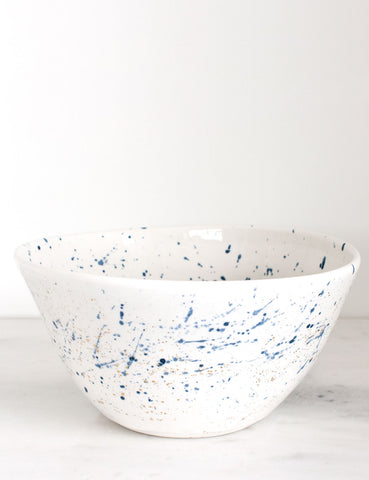 Porcelain Serving Bowl in Navy and Gold Splatters