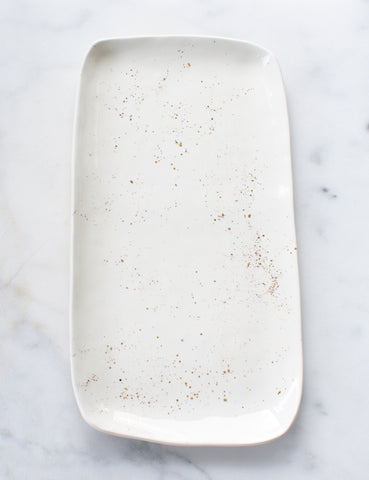 Made to Order: Serving Slab in White with Gold Splatters