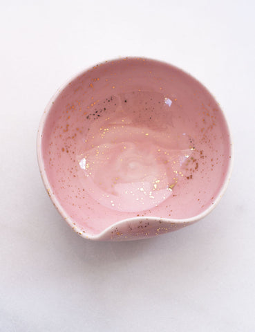 Artist Original: Small Pour Bowl in Rose with Gold Splatters