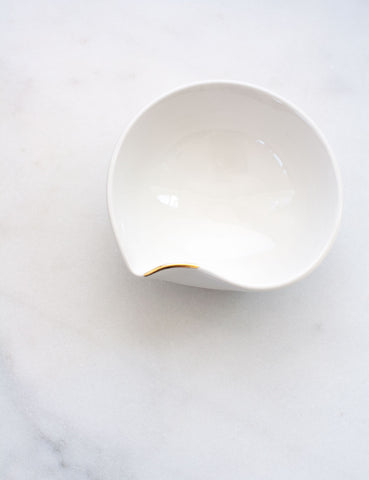 Artist Original: Small Pour Bowl in White with Gold Flourish