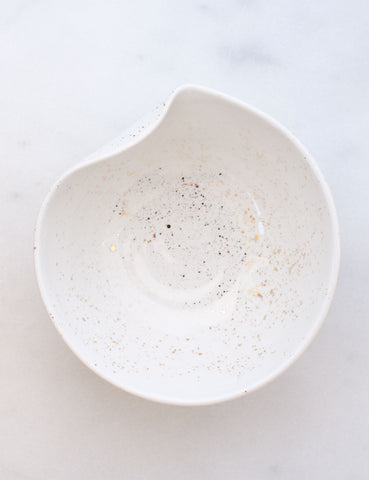Artist Original: Medium Pour Bowl in White with Gold Splatters