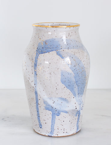 Artist Original: Stoneware Vase in White Watercolor Blue Brushstrokes and 22k Gold