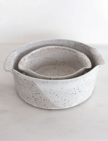 Stoneware Nesting Baker in White (set of two) #3