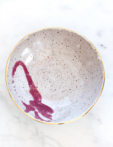 Stoneware Bowl in White, Raspberry and Gold