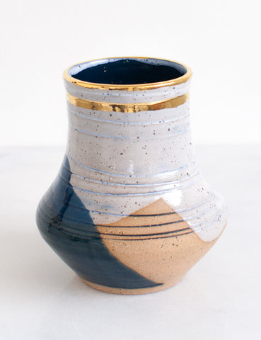 Stoneware Vase in White and Navy with Carved Lines and Gold