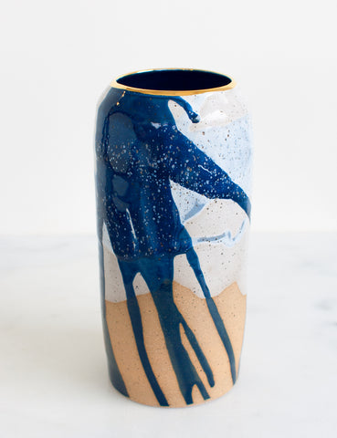 Stoneware Modern Vessel in Watercolor Blues and Gold