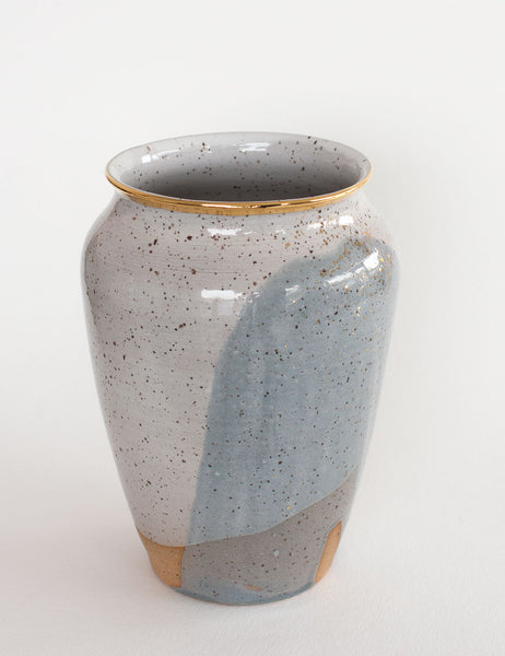 Stoneware Vase in Pewter and Gold #1