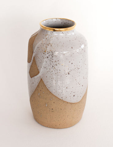 Stoneware Vase in White with Gold Rim #10