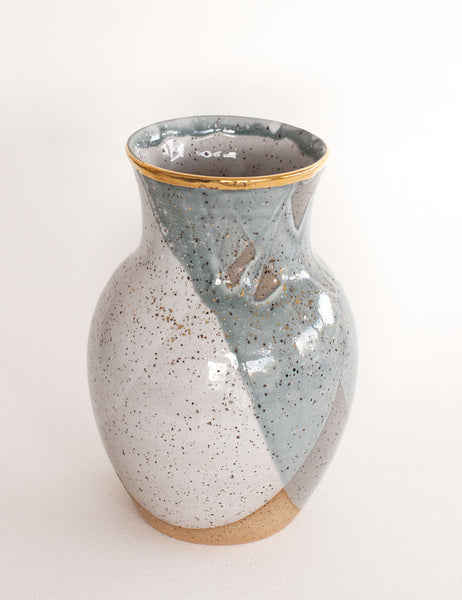 Stoneware Vase in Pewter and Gold #11
