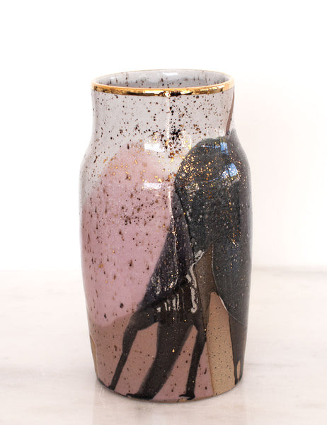 Stoneware Vase in Rose and Charcoal with Gold #12