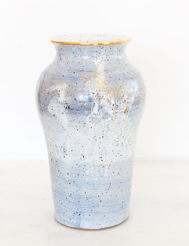Stoneware Vase in Amalfi Blue and Gold #16