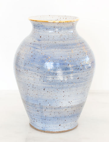 Stoneware Vase in Amalfi Blue and Gold #17