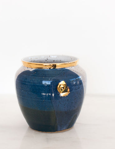 Stoneware Vase in Navy Watercolor and Gold Brushstroke #18