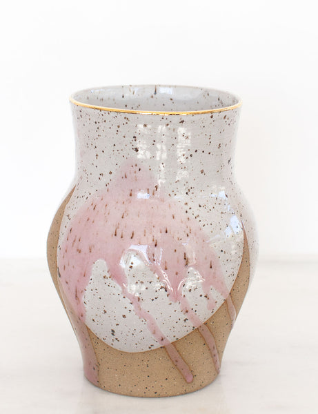 Stoneware Vase in Rose Watercolor and Gold Rim #19