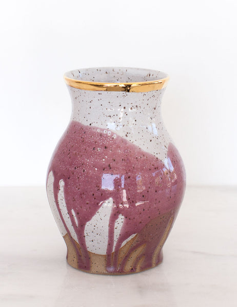 Stoneware Vase in Fig and Gold Rim #20