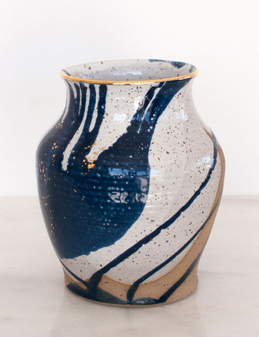 Stoneware Vase in Navy and Gold #21