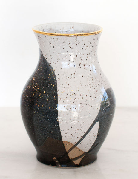 Stoneware Vase in Charcoal Black and Gold #22
