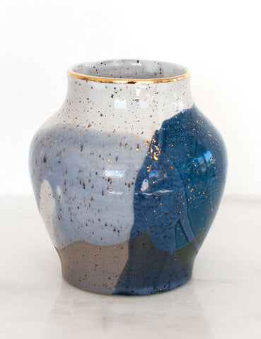 Stoneware Vase in Navy Watercolor and Gold #23